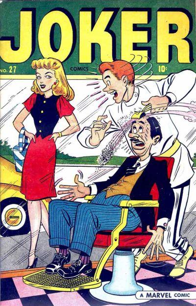 """Otro identificativo mostraba un letrero horizontal, visible en la parte inferior derecha de la portada, resaltándose sobre fondo blanco el texto """"A Marvel Comic"""". El diseño fue tan efímero que se utilizó únicamente en los números de Mayo de 1947 pertenecientes a las colecciones humorísticas Joker Comics y Gay Comics."""