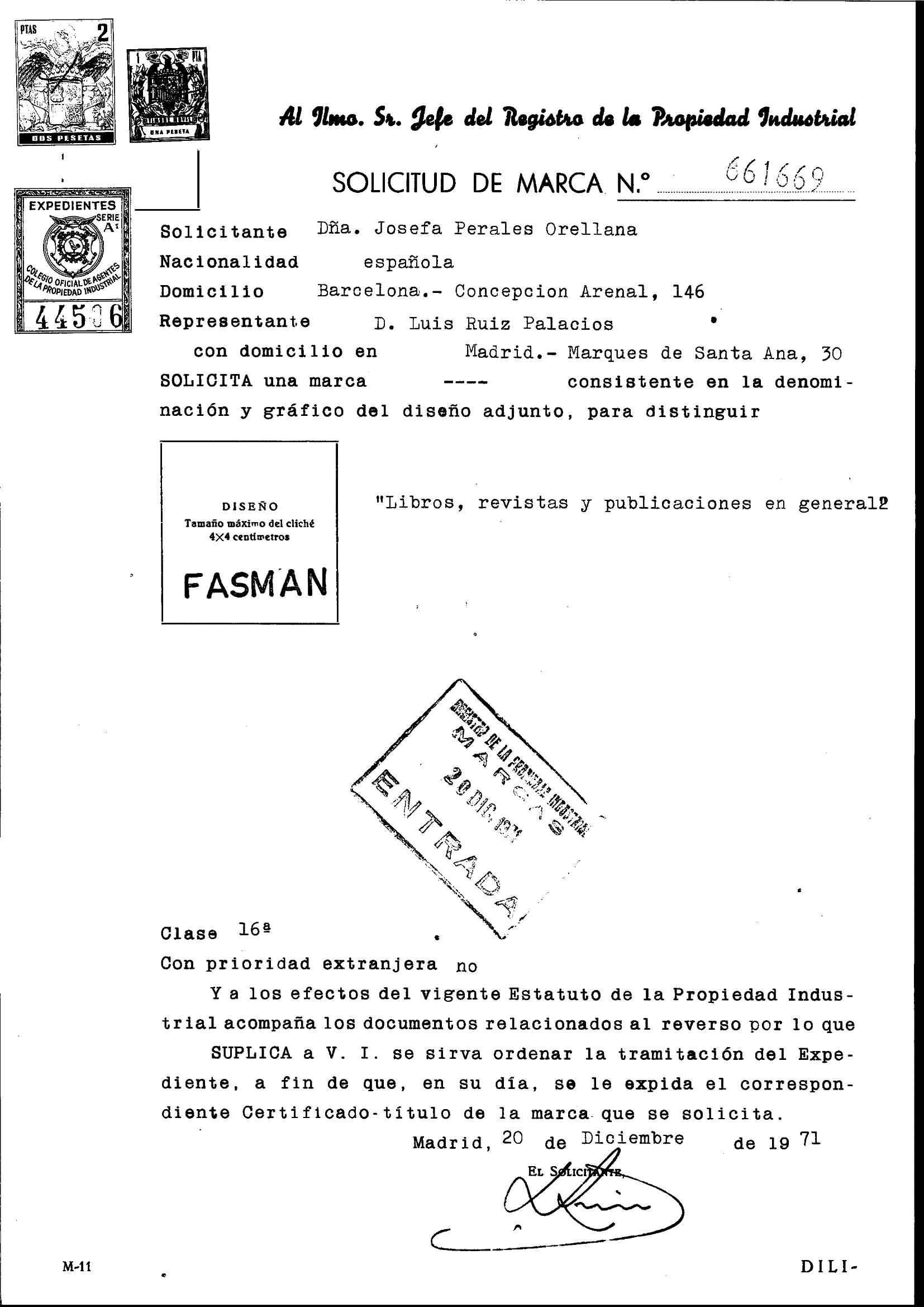 Solicitud distintivo FASMAN Ministerio de Industria, Energía y Turismo. Oficina Española de Patentes y Marcas. Archivo Histórico, Exp. Nº M0661669.
