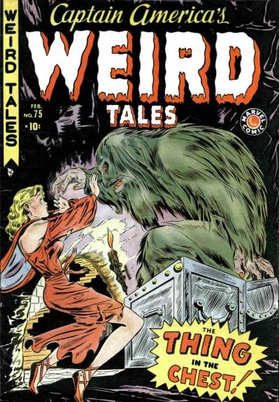 """Esta portada de Gene Colan para el número de despedida de Captain America´s Weird Tales ejemplifica a la perfección el declive de los superhéroes en Timely. ¡Lo más chocante es que el Capi ni tan siquiera asomaba su escudo por el tebeo! Sin embargo, tal como atestigua su logo, aquel era un auténtico """"Marvel Comic""""."""